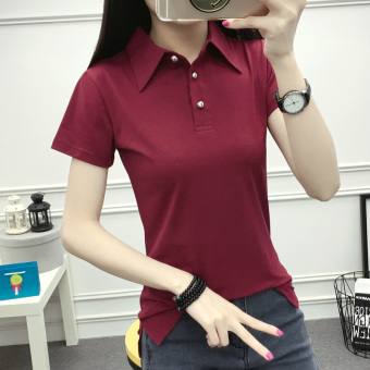 Korean-style solid student V-neck bottoming shirt T-shirt (Wine red color)