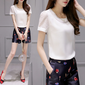 Korean-style solid white new lace Top chiffon shirt