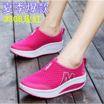 Korean-style Spring and Autumn breathable heavy-bottomed casual shoes shook his shoes (Mesh 3308 rose to send socks)