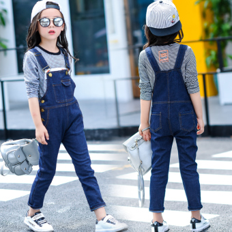 Korean-style Spring and Autumn children's small girl's pants girls cowboy strap pants