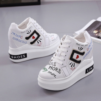 Korean-style Spring and Autumn New style platform shoes female shoes (White)