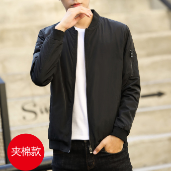 Korean-style Spring and Autumn New style youth jacket men's jacket (Black)