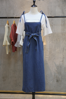 Korean-style spring and mid-length Cooljie strap cowboy dress