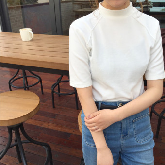 Korean-style spring and summer Slim fit semi-high collar short Top base shirt (White)
