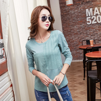 Korean-style spring and women's cotton Slim fit solid color long-sleeved t-shirt bottoming shirt (Mint green)