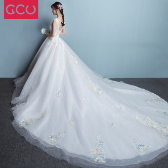 Korean style spring New style bride color yarn wedding veil dress (Sleeveless trailing)