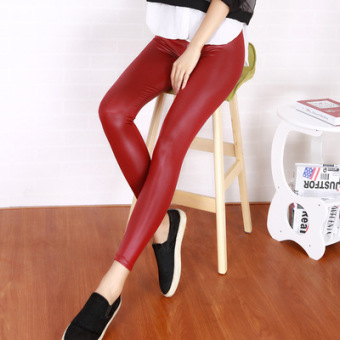 Korean-style spring New style women's leather pants (Wine red color)