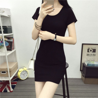 Korean-style striped long section package hip bottoming shirt T-shirt (Black)