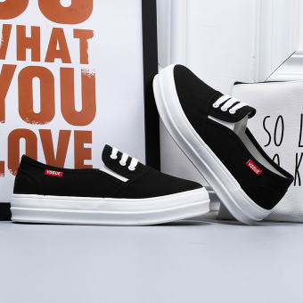 Korean-style student muffin bottom small white shoes white canvas shoes (Black heavy-bottomed)