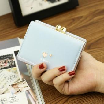 Korean-style student three folding purse clip New style wallet (Sky Blue)