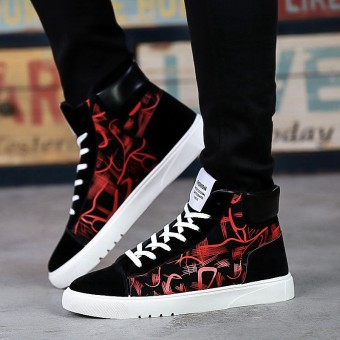 Korean-style student youth hip-hop shoes hight-top shoes (Red)