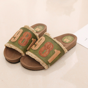 Korean-style summer flat heel lettered female sandals and slippers (Green)