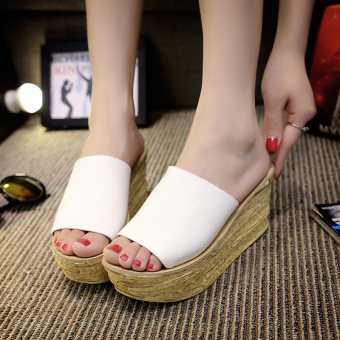 Korean-style summer New Style High-heeled female sandals and slippers sandals (White)