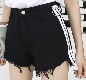 Korean-style summer side striped raw-cut cowboy shorts (Black) (Black)