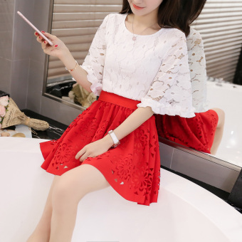 Korean-style Summer Student Tutu dress (Red suit)