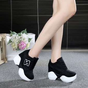 Korean-style super high-heeled thick bottomed muffin versatile shoes elevator women's shoes (Black)