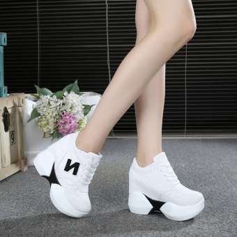 Korean-style super high-heeled thick bottomed muffin versatile shoes elevator women's shoes (White)