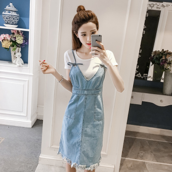 Korean-style tassel long section New style Dungaree dress denim dress
