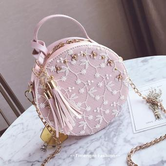 Korean-style tassled New style mini Round package small bag (Pink)