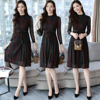 Korean-style temperament long-sleeved Slimming effect long skirt dress (Black and red lace)