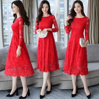 Korean-style temperament Slim fit Slimming effect skirt red dress (Red)