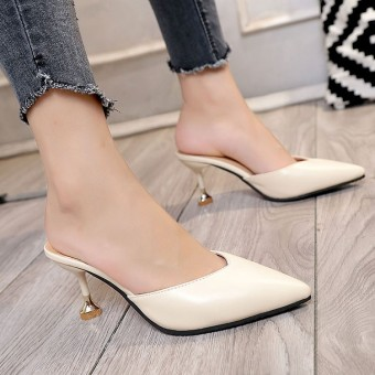 Korean-style thin heeled slipper high-heeled slippers (Off-white color)
