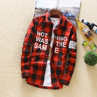 Korean-style thin Slim fit shirt plaid shirt (Red)