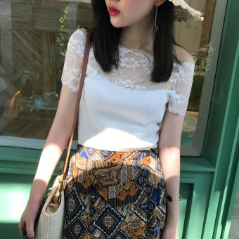 Korean-style thread cotton female student Top T-shirt (White)