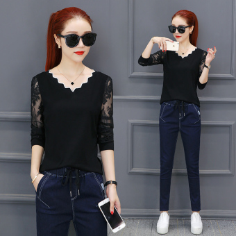 Korean-style V-neck versatile bottoming shirt T-shirt (Black)