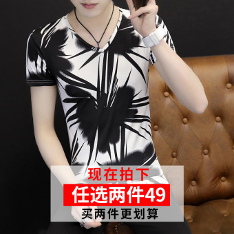 Korean-style viscose fibre summer men's short sleeve T-shirt (Bamboo black)