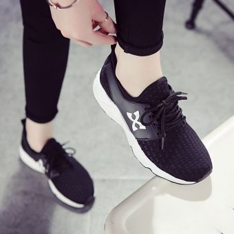Korean-style white female summer shoes sports shoes (Black)