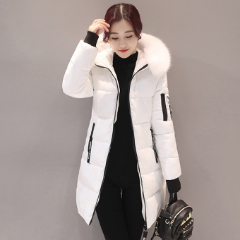 Korean-style winter New style Slim fit coat down padded (White)