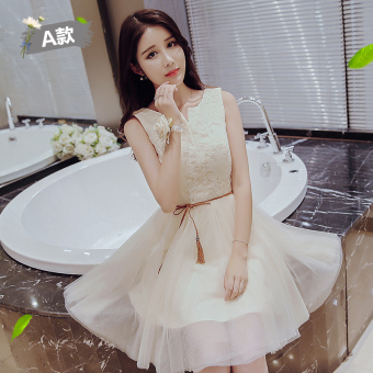 Korean style winter New style Slim fit sisters dress bridesmaid dress (Champagne color a paragraph)