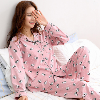 Korean-style women's cotton long-sleeved thick tracksuit pajamas (QF2717 #)