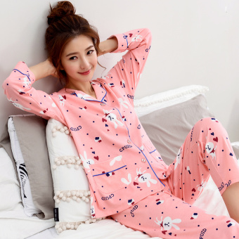 Korean-style women's cotton long-sleeved thick tracksuit pajamas (Y1971 #)