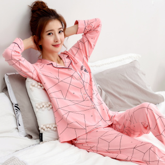 Korean-style women's cotton long-sleeved thick tracksuit pajamas (Y1981 #)