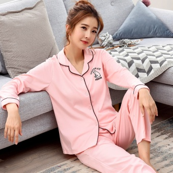 Korean-style women's cotton long-sleeved thick tracksuit pajamas (Y8802 #)