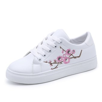 Korean-style Women's Embroidered Fashion Sneakers - White (Pink)
