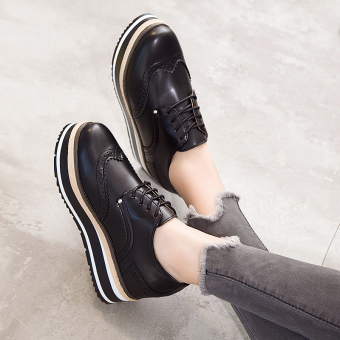 Korean-style Women's Increased Muffin Sole Hidden Cashmere Elevator Shoes - Black (Black 1)