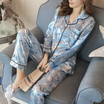 Korean-style Women's Long Sleeve Silk Pajamas Set (Light blue)