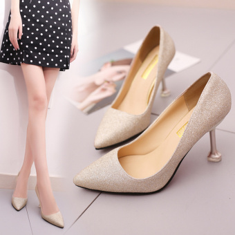 Korean-style Women's Matte Surface Shallow Mouth High-heels - Silver (Gold)