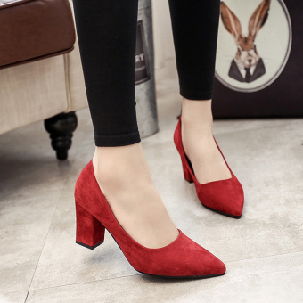 Korean-style Women's Pointed Toe Shallow Mouth Rhinestone-decorated High-heels (Red nude models)