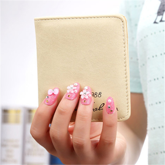 Korean-style women's soft surface Mini Wallet wallet (Off-white color)
