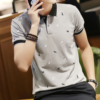 Korean-style young men's printed polo shirt base shirt (Gray)