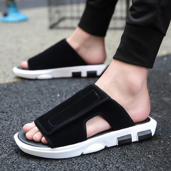 Korean-style youth men's sandals New style sandals and slippers shoes (Black)