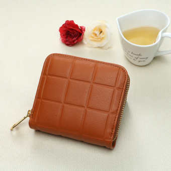 Korean-style zip student coin bag small wallet (Brown)