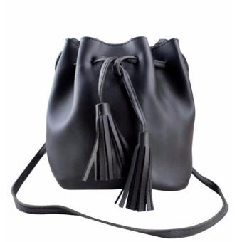 Korean Tassel Mini Bag Leather Bucket Black Sling Bag with Tassel Korean Bag Casual Bag