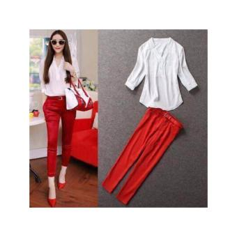 Korean Terno Set Pants, Blouse with belt fit up to large frame