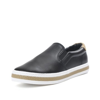 Korean Thick Soles Slip On Shoes Women Fashion Breathable Flat PULeather Casual Shoes (Black) - intl Price Philippines
