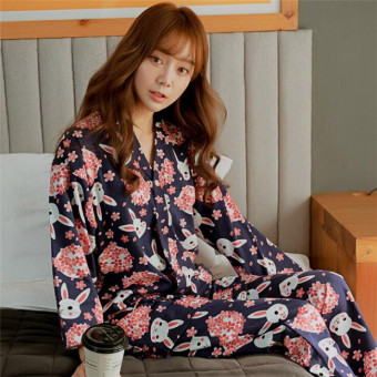 Korean Version Pajamas Lovely Cherry Blossoms Rabbit Lacing HomeClothes Suits